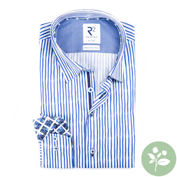 R2 Wit met blauw gestreept 2 PLY organic cotton overhemd.