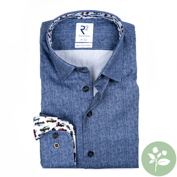 R2 Blauw 2 PLY organic cotton overhemd.