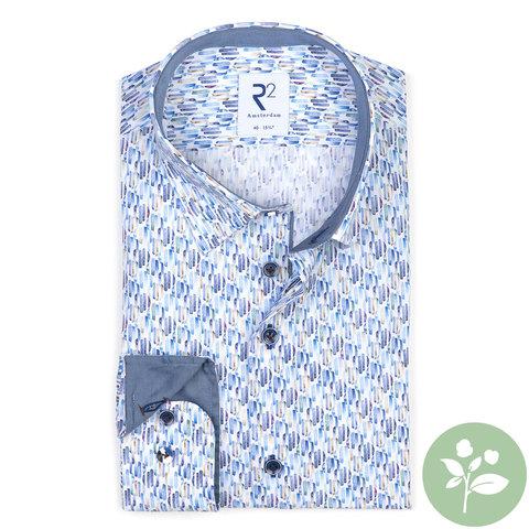 Blauw grafische print organic cotton overhemd.