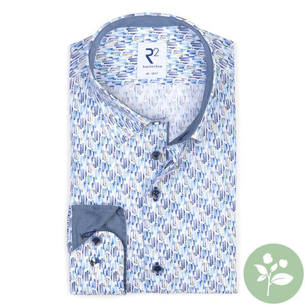 R2 Blauw grafische print organic cotton overhemd.
