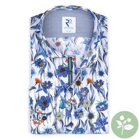 R2 White floral print organic cotton shirt.