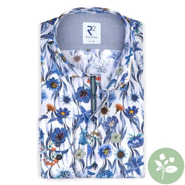 R2 Baumwollhemd mit weißem Blumenprint.  Organic Baumwolle.