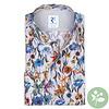 Grijs bloemenprint organic cotton overhemd.