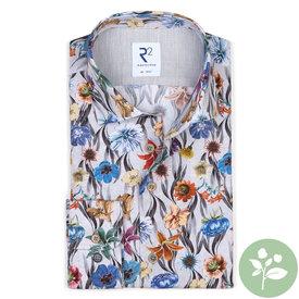 R2 Baumwollhemd mit grauem Blumenprint.  Organic Baumwolle.