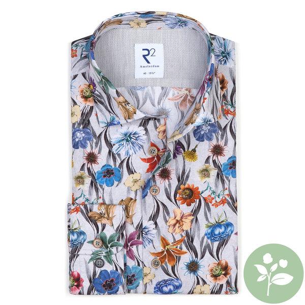 R2 Grijs bloemenprint organic cotton overhemd.