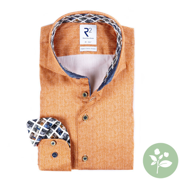 R2 Oranje 2 PLY organic cotton overhemd.