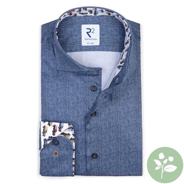 R2 Blaues 2 PLY Organic Baumwollhemd.