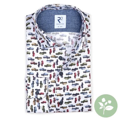 White Jeep print 2 PLY organic cotton shirt.