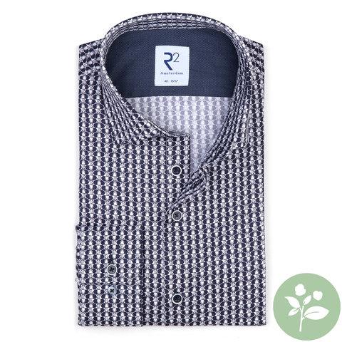 Wit olifantenprint 2 PLY organic cotton overhemd.