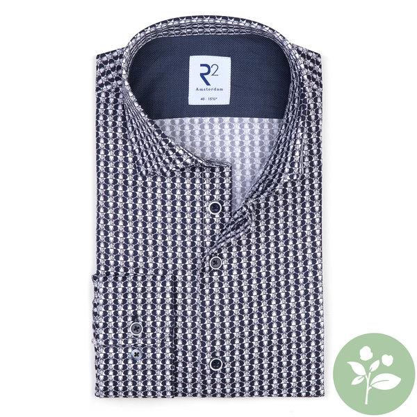 R2 Wit olifantenprint 2 PLY organic cotton overhemd.
