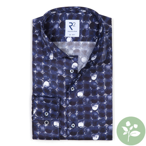 Blaues Runddruck 2 PLY Organic Baumwollhemd.