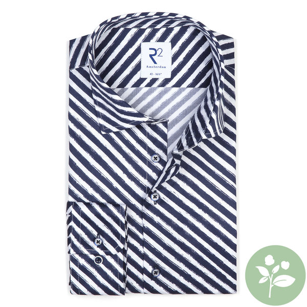 R2 Wit diagonale strepen 2 PLY organic cotton overhemd.