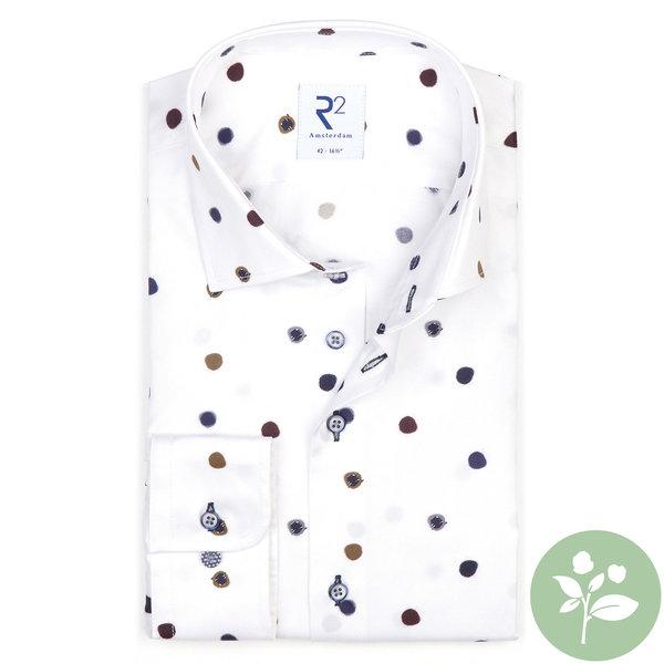 R2 White dot print 2 PLY organic cotton shirt.