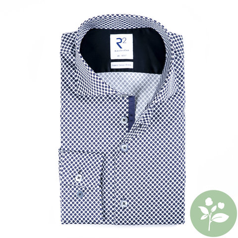 Wit tennisballen 2 PLY print organic cotton overhemd.