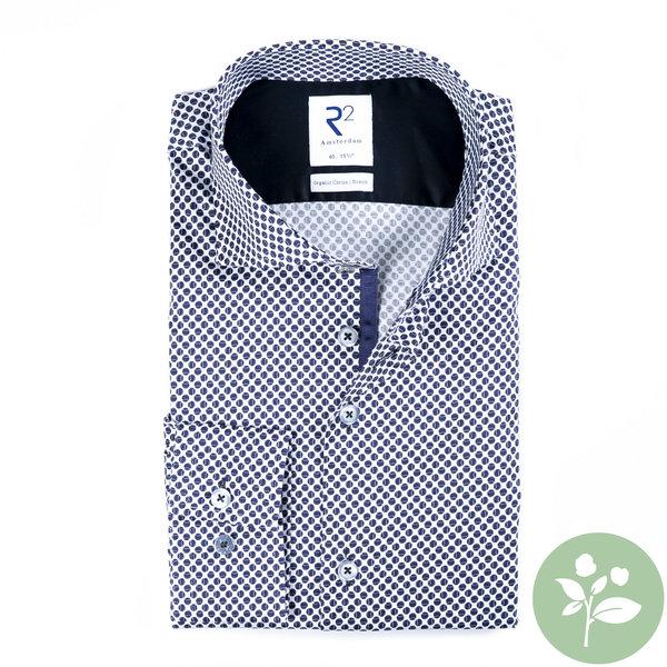 R2 Wit tennisballen 2 PLY print organic cotton overhemd.