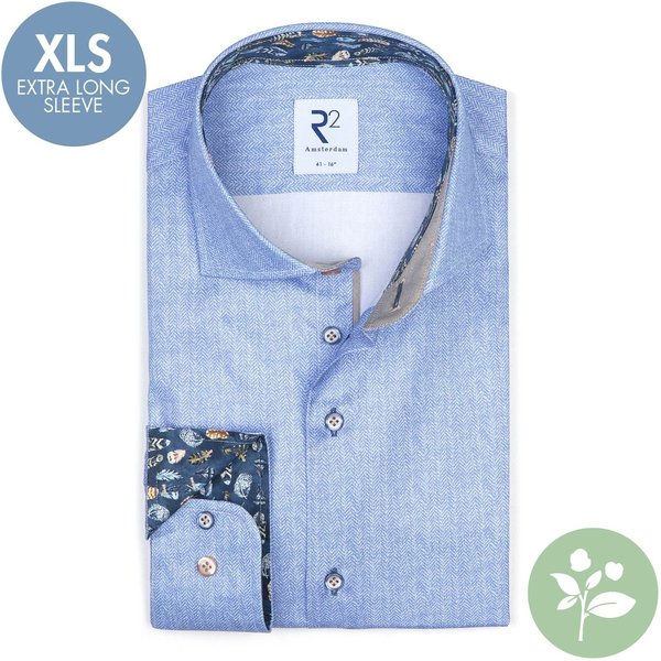R2 Extra Long Sleeves. Light blue 2 PLY organic cotton shirt.