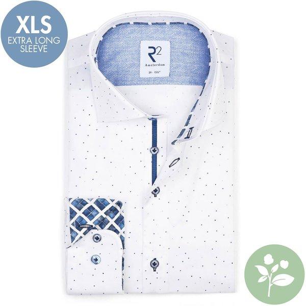 R2 Extra Lange Mouwen. Wit stippenprint 2 PLY organic cotton overhemd.