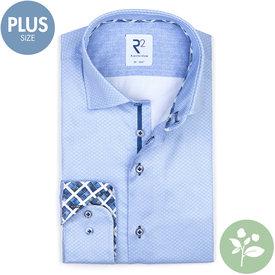 R2 Plus size. Lichtblauw mini-bloemenprint 2 PLY organic cotton overhemd.