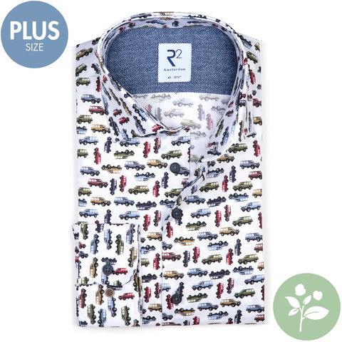 Plus Size. Weißes Autodruck 2 PLY Organic Baumwollhemd.