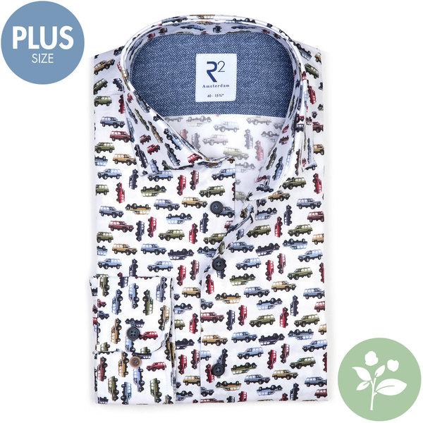 R2 Plus size. Wit met autoprint 2 PLY organic cotton overhemd.