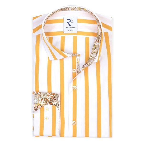 R2 Geel gestreept katoenen overhemd.