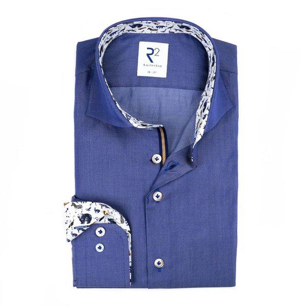 R2 Blaues Herringbone Baumwollhemd..
