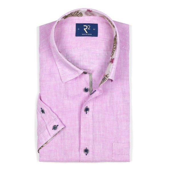 R2 Korte mouwen roze linnen overhemd.