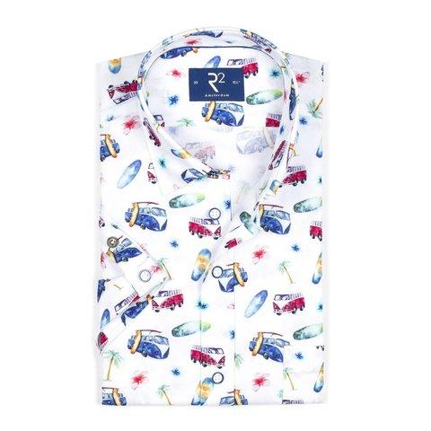 Kurzärmeliges weißes Autodruck Oxford Baumwollhemd.