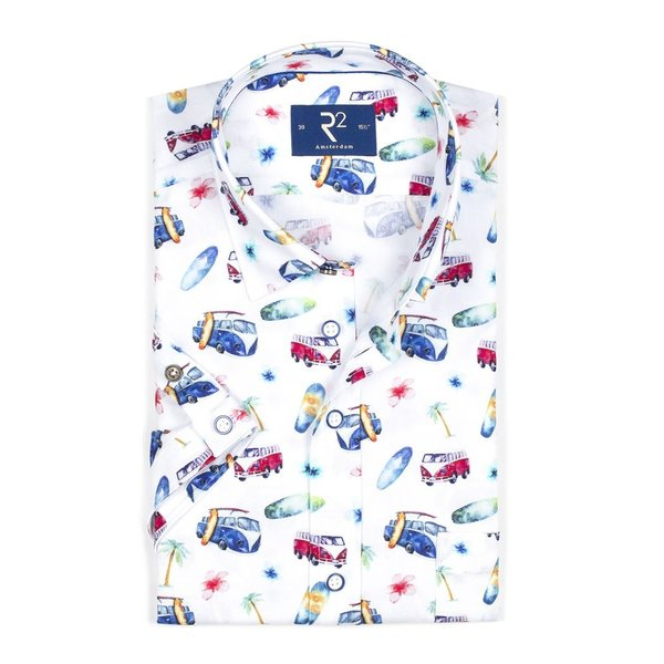 R2 Short sleeved white car print oxford cotton shirt.