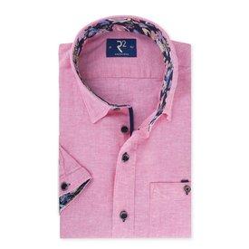 R2 Short sleeved pink linen shirt.