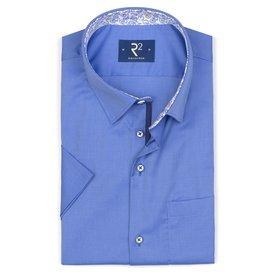 R2 Kurzärmeliges blaues Oxford Baumwollhemd.