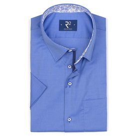 R2 Short sleeved blue oxford cotton shirt.