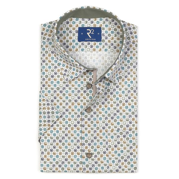 R2 Short sleeved multicolour floral print cotton shirt.