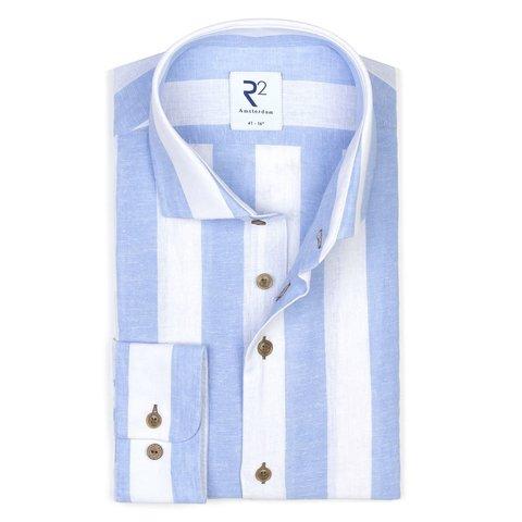 Weiß-blau gestreiftes Leinen-/Baumwollhemd.
