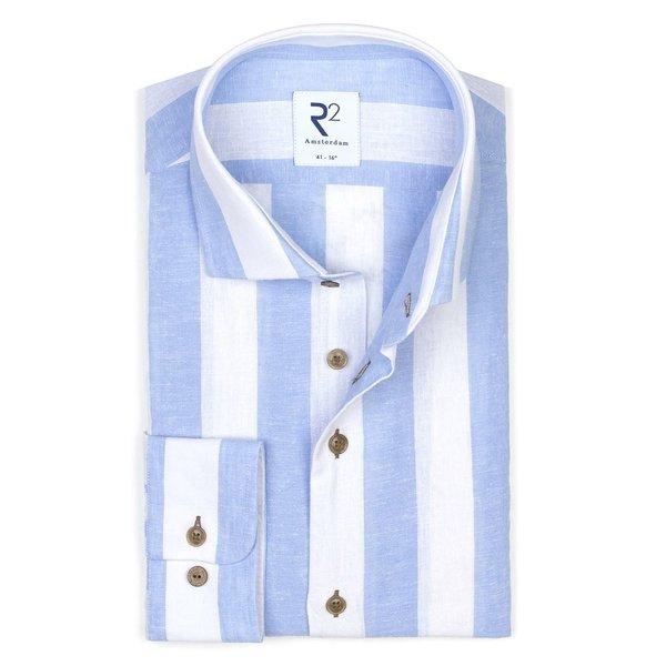 R2 Weiß-blau gestreiftes Leinen-/Baumwollhemd.