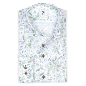 R2 Green floral print linen shirt.