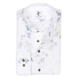 R2 White floral print linen shirt.