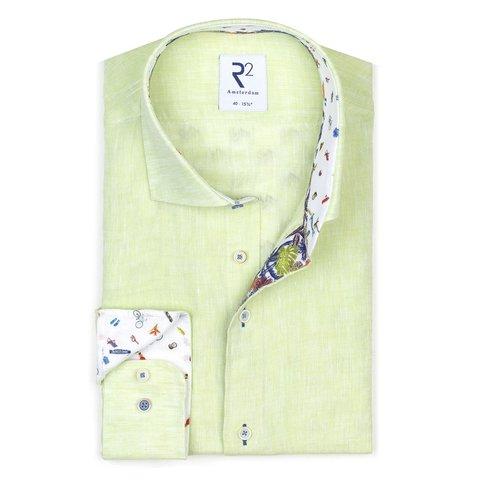 Green linen shirt.