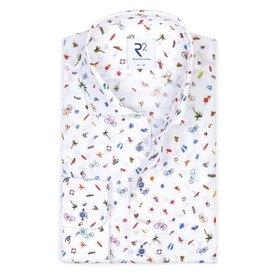 R2 White holiday print linen shirt.