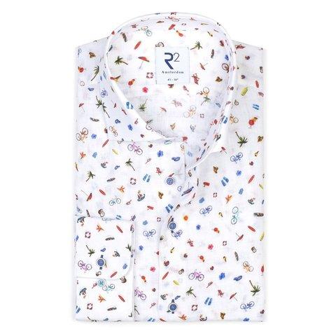 White holiday print linen shirt.