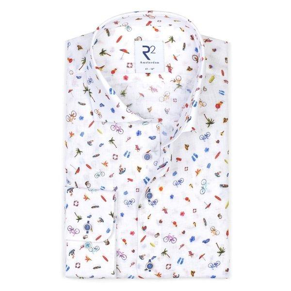 R2 Weißes Leinenhemd mit Urlaubsdruck.