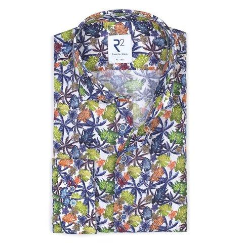 Multicolour bladerenprint linnen overhemd.