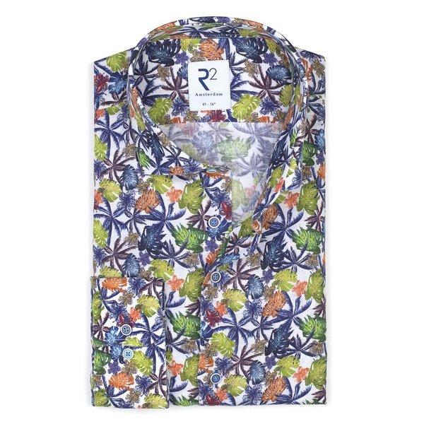 R2 Mehrfarbiges Leinenhemd mit Blumendruck.