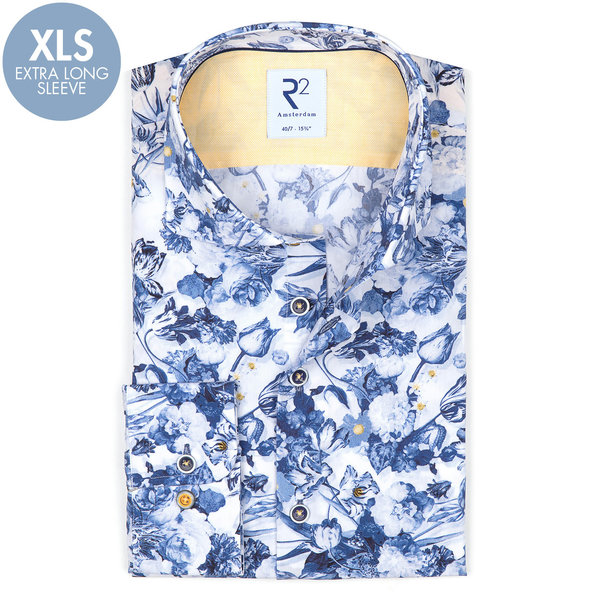 R2 Extra Long Sleeves. White flower print cotton shirt.