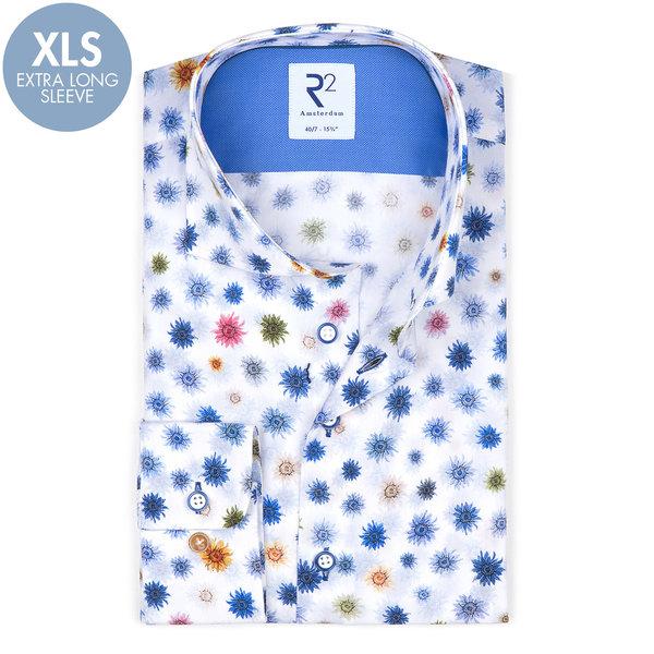 R2 Extra Long Sleeves. White flower print cotton shirt.