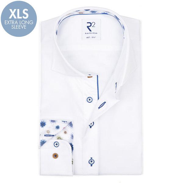 R2 Extra Lange Mouwen. Wit katoenen overhemd.