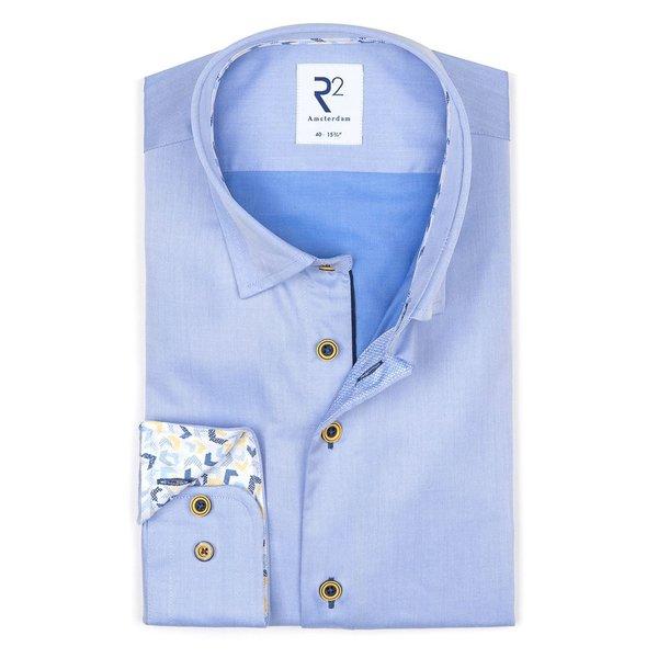 R2 Blauw katoenen overhemd.