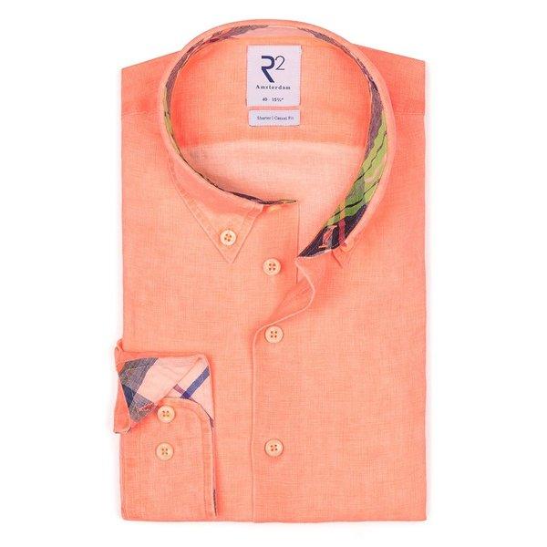 R2 Neon orange linen shirt.