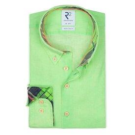 R2 Neon green linen shirt.