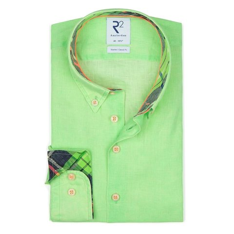 Neon groen linnen overhemd.